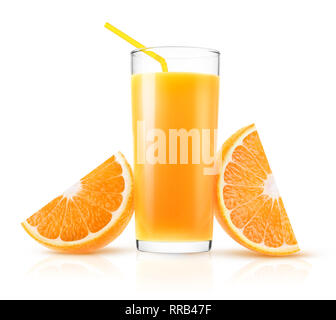 Isolated orange juice. One glass of fresh pressed orange juice and two pieces of fruit isolated on white background with clipping path - Stock Image