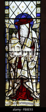 Stained glass window depicting Saint Hieronymus, St Peter's Church, Deene, Northamptonshire - Stock Image