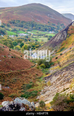 View down Sychnant Pass in autumn in hills of northern Snowdonia National Park. Pensychnant, Dwygfylchi, Conwy, - Stock Image