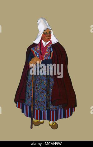 la picardie-vieille femme des environs d'amiens - Stock Image
