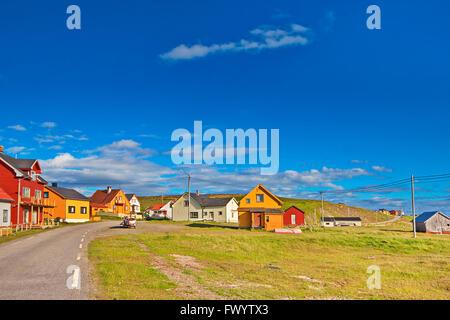 Colorful wooden houses in the village  Ekkerøy at Varangerfjorden in arctic Norway. - Stock Image