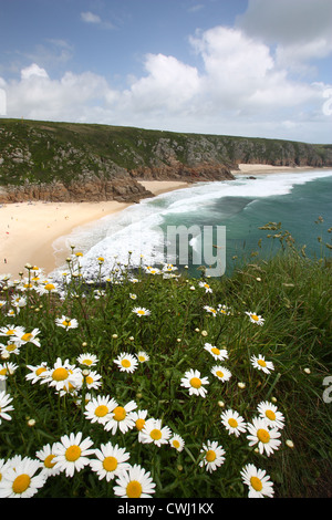 Porthcurno beach in Cornwall - Stock Image