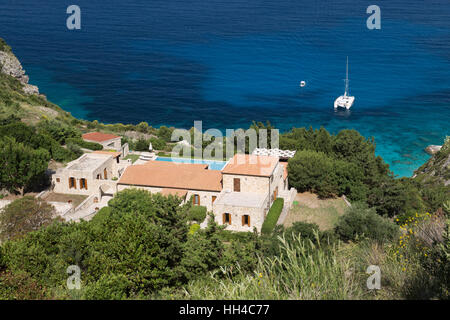 Villa above Erimiti bay on west coast, Paxos, Ionian Islands, Greek Islands, Greece, Europe - Stock Image