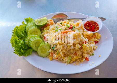 Fried seafood and rice, Ko Lan, Thailand - Stock Image