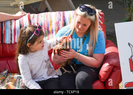 Ardingly Sussex UK 6th June 2019 - Youngsters meet chickens on the NFU stand on the first day of the South of England Show held at the Ardingly Showground in Sussex. The annual agricultural show highlights the best in British farming and produce and attracts thousands of visitors over three days . Credit : Simon Dack / Alamy Live News - Stock Image