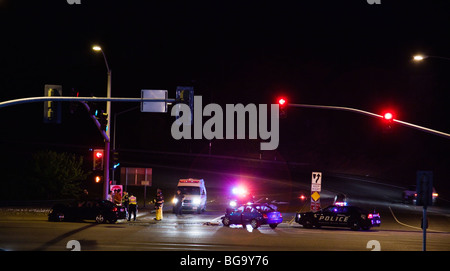 Emergency personnel on the scene of a vehicular accident, Auburn, California, USA - Stock Image