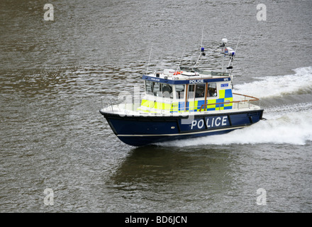 Police Launch on the River Thames, London, UK - Stock Image