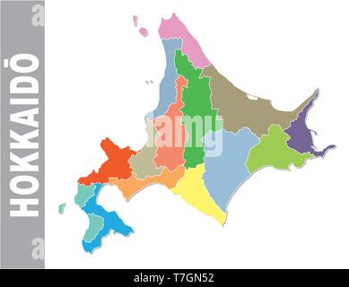 Colorful administrative and political vector map of japanese prefecture Hokkaido - Stock Image