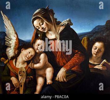 Madonna col Bambino e due Angeli  - Madonna and Child with two Angels by Piero di Cosimo, ( Pietro di Lorenzo ) Florence 1461 - 1522, Italy, Italian. - Stock Image