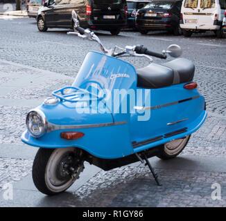 The Cezeta 506 electric bike in Prague, Czech Republic, October 16, 2018. (CTK Photo/Petr Jerie) - Stock Image