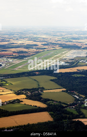 Aerial view of Stansted Airport, Uttlesford, Essex, UK - Stock Image
