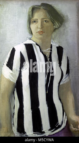 742590 Reproduction of 'Girl in the T-Shirt' painting (1932) by artist Alexander Samokhvalov (1894-1971). - Stock Image