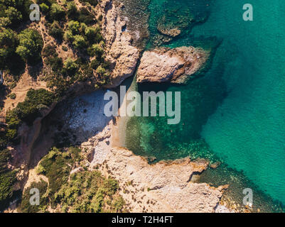 Cliffs, beaches and turquoise water, the definition of Thasos Island, Greece - Stock Image