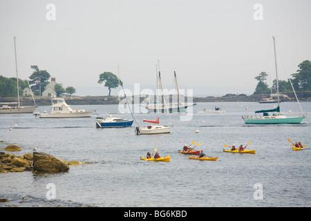 Kayakers in Harbor Camden, Maine - Stock Image