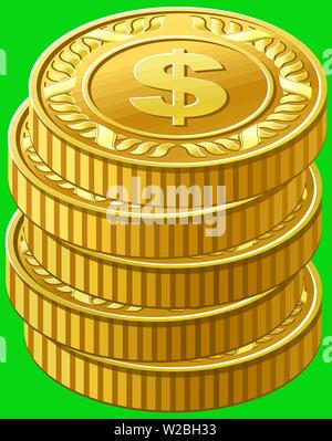 pile golden coins treasure finance yellow illustration  prosperity green - Stock Image