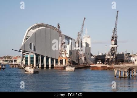 Historic dockside cranes and the Fremantle Maritime Museum, Western Australia. - Stock Image