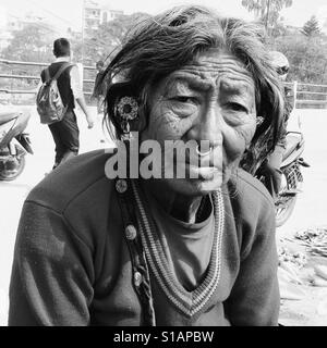 Old woman with a nose ring,Kathmandu 2017 - Stock Image