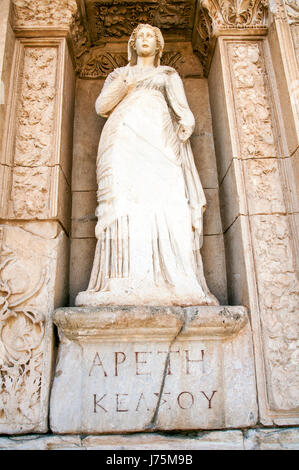 Statue of Arete, in the wall of the Celsus Library, Ephesus, Turkey - Stock Image