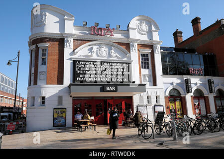 Ritzy Cinema and Bar exterior view showing movies films in Brixton South London UK  KATHY DEWITT - Stock Image