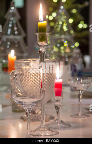 A closeup of a table set for Christmas lunch - Stock Image