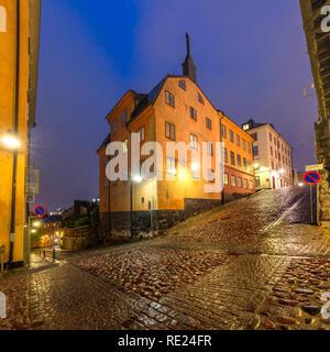 Night street in Stockholm, Sweden - Stock Image