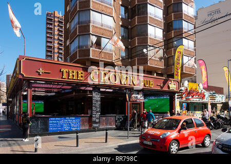 Benidorm, Costa Blanca, Spain, 25th February 2019. Two staff members at the Beachcomber pub in Benidorm New Town on the British square. Two British tourists have been arrested in relation to the alleged attack. Seen here is the Crown Pub which is not connected to the reported incident.  Credit: Mick Flynn/Alamy Live News - Stock Image