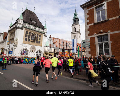 Running event 'Wasalauf', downtown Celle, along half-timbered houses, Celle, Germany - Stock Image