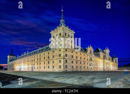 Monastery of the Royal Site of San Lorenzo de El Escorial, Madrid, Spain. View from the north-west. - Stock Image
