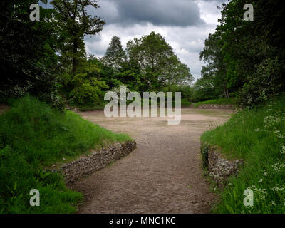 Overgrown amphitheatre at Silchester, the Roman town in Hampshire, UK - Stock Image
