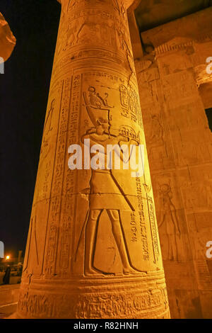 Night time views of the Temple of Kom Ombo, Aswan, Egypt, Africa - Stock Image