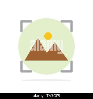 Crop, Focus, Photo, Photography Abstract Circle Background Flat color Icon - Stock Image