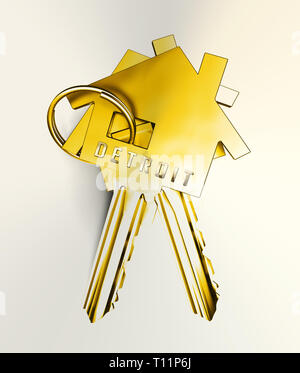 Detroit Property Keys Denotes Real Estate Selling Or Buying In Michigan. Housing Development And Realty Rental - 3d Illustration - Stock Image