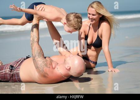 Summer fun day - Family on the beach, Riviera Nayarit, Mexico - Stock Image