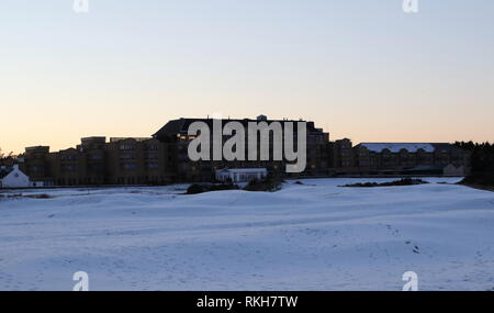 Old Course Hotel with snow St Andrews Fife Scotland  February 2019 - Stock Image