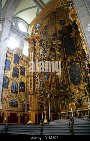 The Ornate Interior of the Metropolitan Cathedral, Zocalo Square, Plaza de la Constitucion, Mexico City, Mexico - Stock Image
