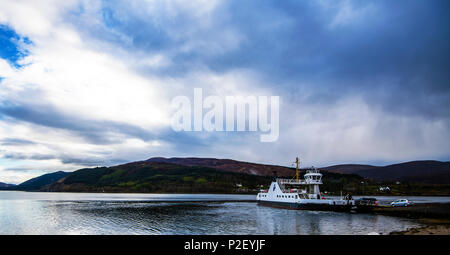 The Corran ferry which takes cars and passengers across Loch Linnhe in the Highlands of Scotland. - Stock Image