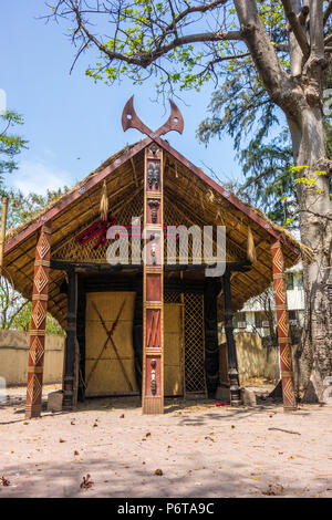 Konyak Morung or traditional Men's House for the men of Konyak Tribe in Nagaland, National Handicrafts and Handlooms Museum, New Delhi, Delhi, India - Stock Image