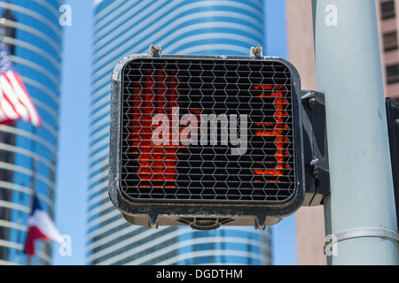 Pedestrian stop sign at traffic light Houston USA - Stock Image