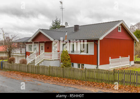 FLODA, SWEDEN - NOVEMBER 21 2018: Typical Swedish red painted wood detached house - Stock Image