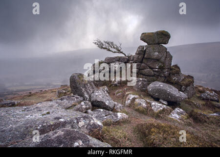 A passing snow shower on Chinkwell tor Dartmoor National park Devon Uk - Stock Image