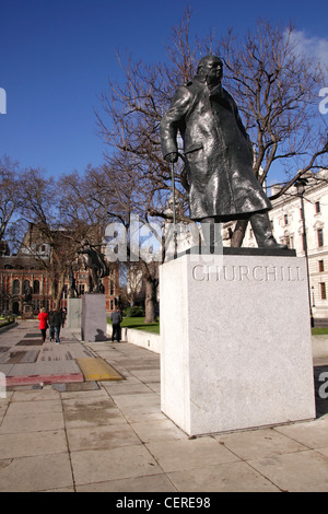 Statue of Winston Churchill Parliament Square Westminster London - Stock Image