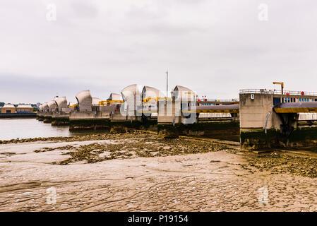 Thames Barrier at low tide, London, UK - Stock Image
