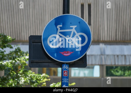 cycling  cycle route  cycle path cycle route london - Stock Image