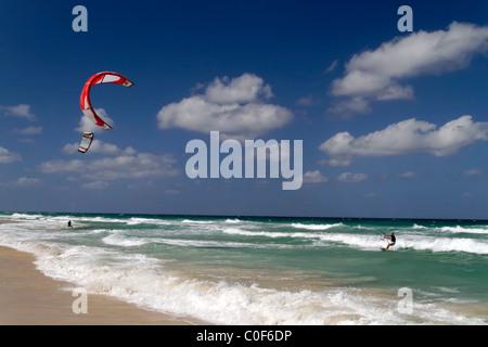 Kite surfer at Playa del Este near Havanna Cuba - Stock Image