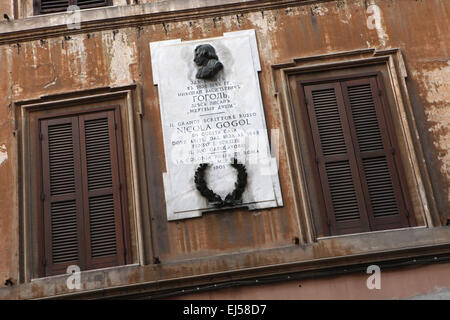 Commemorative plaque to Russian writer Nikolai Gogol at Via Sistina in Rome, Italy. Nikolai Gogol lived in this - Stock Image