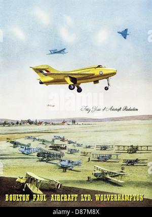 Advert for aircraft manufacturer BOULTON PAUL AIRCRAFT LTD WOLVERHAMPTON advertisement in trade magazine circa 1955 - Stock Image