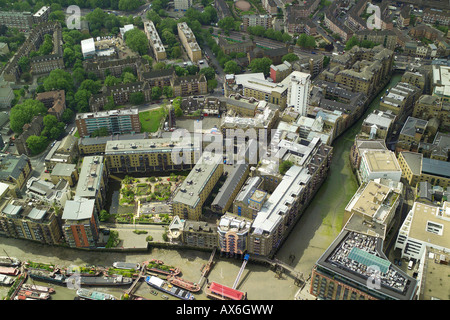 Aerial view of the Shad Thames in the Upper Pool area of London the River Thames near Tower Bridge - Stock Image