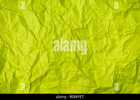 green crumpled paper texture as background. concept of school, abstract and stress - Stock Image