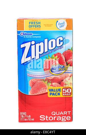 Ziploc Quart storage bags - Stock Image