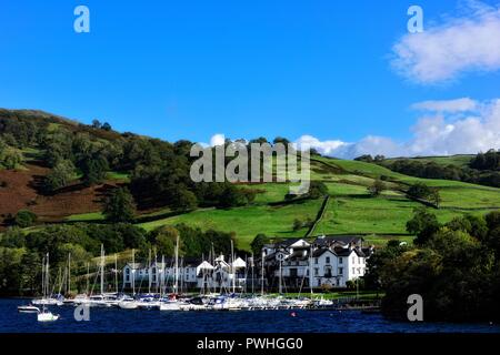 Low wood bay marina, Lake Windermere,Lake district,Cumbria,England,UK - Stock Image